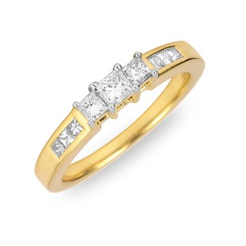 14K YG Diamond Engagement Ring in Princess Cut