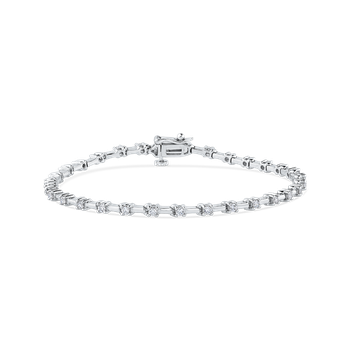 1.08 ct Round White Diamond 14K White Gold Tennis Bracelet
