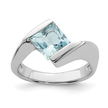Sterling Silver Rhodium-plated Polished Blue CZ Ring