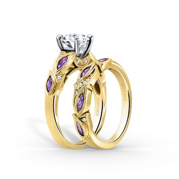 Leaf Floral Amethyst Diamond Wedding Band
