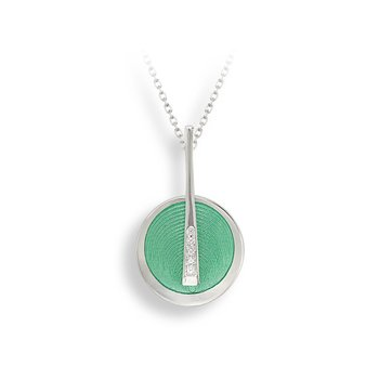 Green Art Deco Necklace.Sterling Silver-White Sapphire