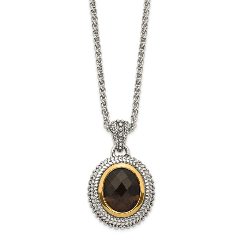 Quality Gold Sterling Silver w/ 14K Accent Antiqued Smokey Quartz Necklace