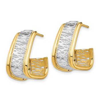 14k & Rhodium Polished & Diamond Cut Triangle Hoop Post Earrings