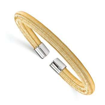 Leslie's Sterling Silver Gold-tone Cuff Bangle