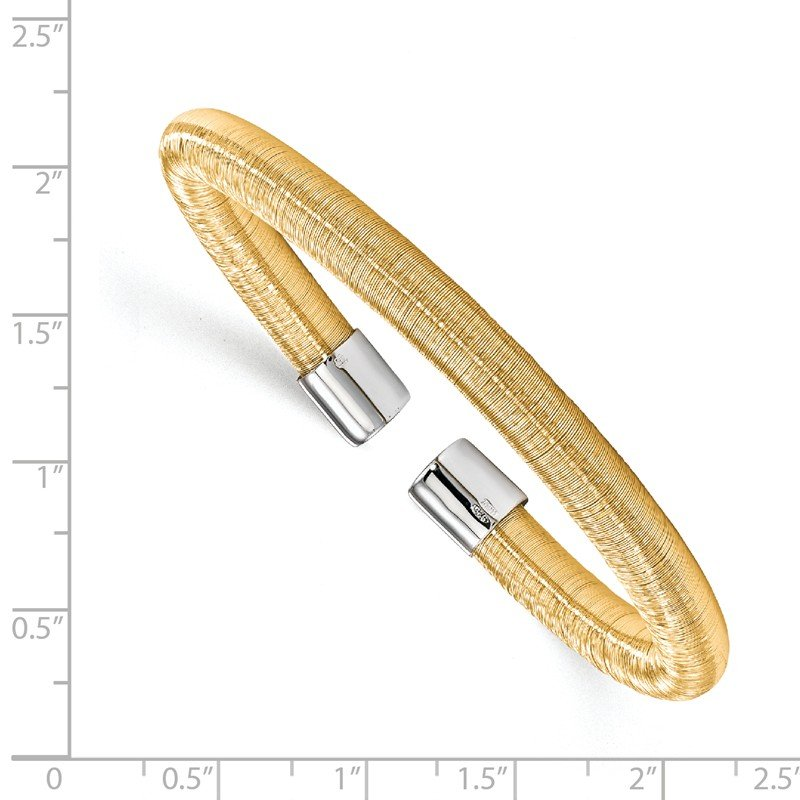 Leslie's Leslie's Sterling Silver Gold-tone Cuff Bangle