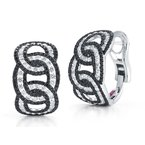 Roberto Coin Cable Link Earrings With Diamonds