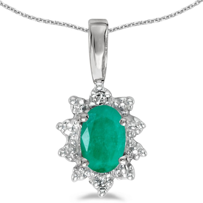 Color Merchants 10k White Gold Oval Emerald And Diamond Pendant