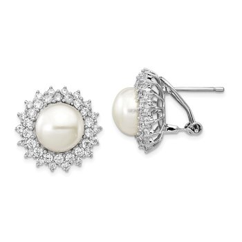 Cheryl M Sterling Silver CZ FW Cultured Pearl Omega Back Earrings