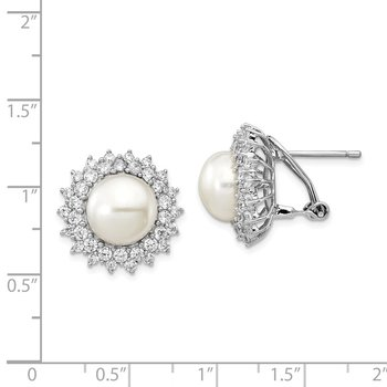 Cheryl M Sterling Silver Rhod Plated CZ & FWC Pearl Omega Back Earrings