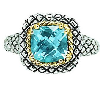 18kt and Sterling Silver Cushion Blue Topaz Button Ring