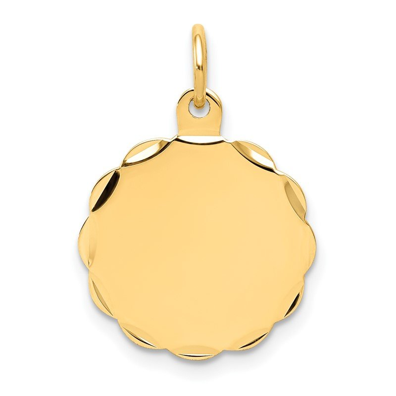 Quality Gold 14k .018 Gauge Engravable Scalloped Disc Charm