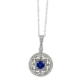 Sapphire and Diamond Filigree Pendant