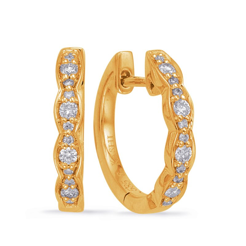 Briana Yellow Gold Huggie Earring