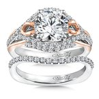 Caro74 Diamond Engagement Ring Mounting in 14K White/Rose Gold with Platinum Head (.55 ct. tw.)