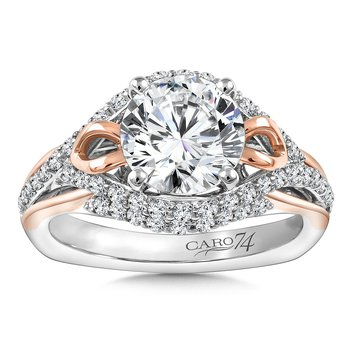 Diamond Engagement Ring Mounting in 14K White/Rose Gold with Platinum Head (.55 ct. tw.)