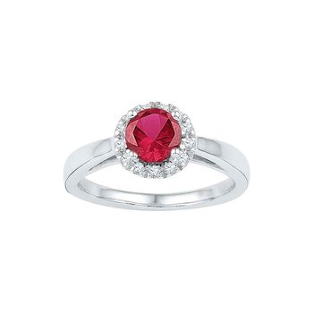 10k White Gold Womens Lab-created Ruby & Diamond Cocktail Ring 1.00 Cttw