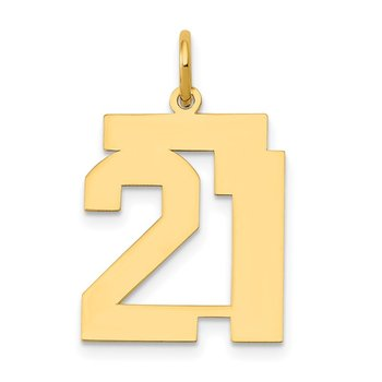 14k Medium Polished Number 21 Charm