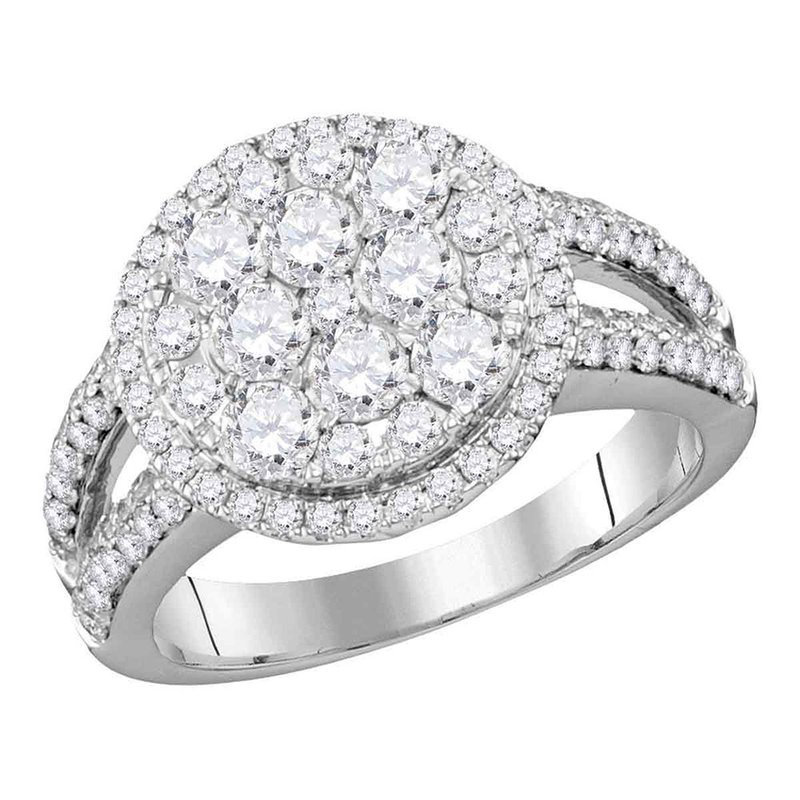 Kingdom Treasures 14kt White Gold Womens Round Diamond Cluster Bridal Wedding Engagement Ring 1-3/4 Cttw