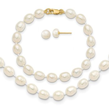 14k 5-6mm FW Cultured Pearl 5in Bracelet, 14in Necklace & Earring Set