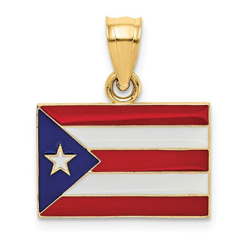 Quality Gold 14k Solid Enameled Puerto Rico Flag Pendant