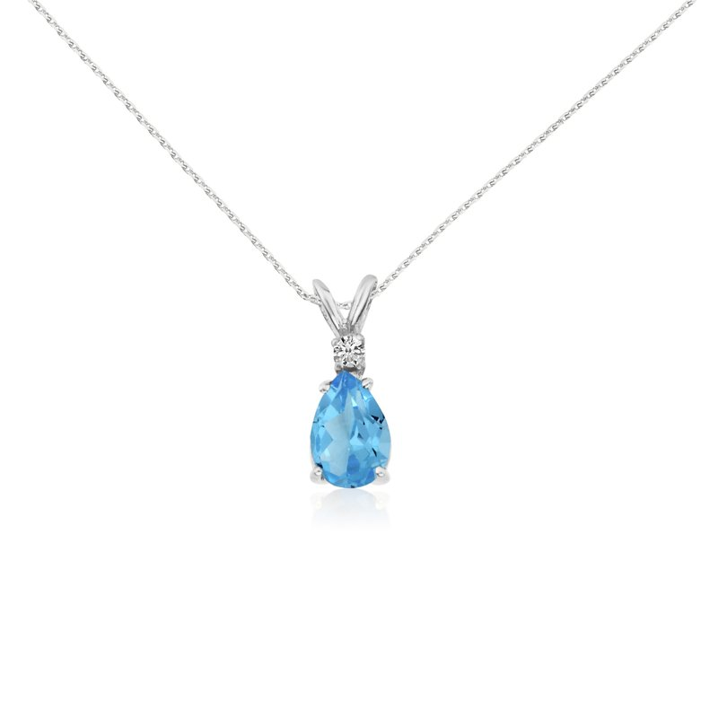 Color Merchants 14k Yellow Gold 7X5 Blue Topaz Pear and Diamond Pendant