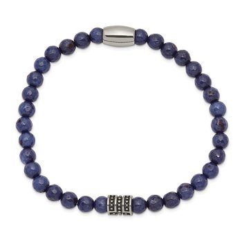Stainless Steel Antiqued and Polished Cross Blue Jade Stretch Bracelet