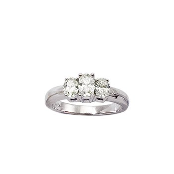 14k White Gold 1ct  3 Stone Oval Diamond Ring