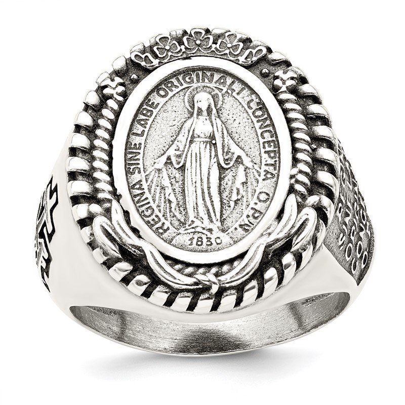 Quality Gold Sterling Silver Antiqued Miraculous Medal Ring