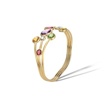 Jaipur Mixed Gemstones Three Row Bangle