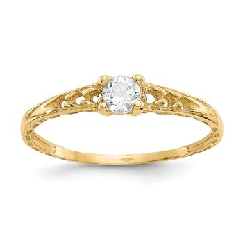 14k Madi K 3mm White Topaz Birthstone Baby Ring