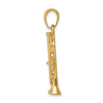 14K Solid Polished 3-D Trumpet Pendant