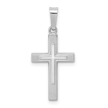 14K White Gold Polished Latin Cross Pendant