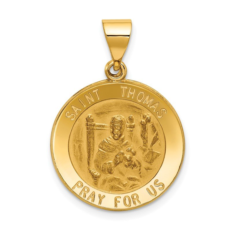 Quality Gold 14k Polished and Satin St Thomas Medal Hollow Pendant