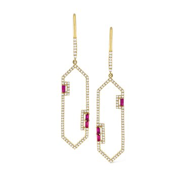 Ruby & Diamond Frame Earrings Set in 14 Kt. Gold