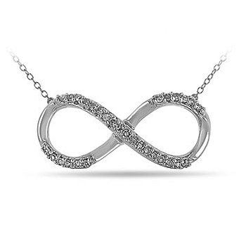 925 SS and Diamond Infinity Necklace in Prong Setting