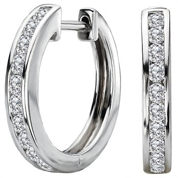 Ladies Fashion Diamond Hoop Earrings