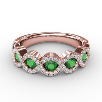 Hold Me Close Emerald and Diamond Twist Ring