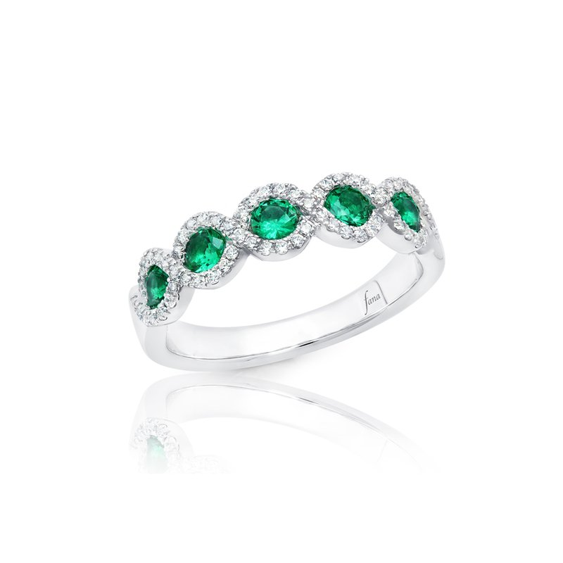 Fana Hold Me Close Emerald and Diamond Twist Ring