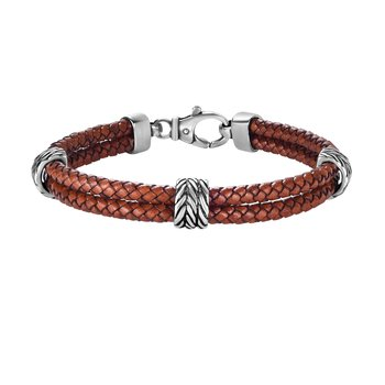 Sterling Silver Men's Textured Leather Double Strand Bracelet
