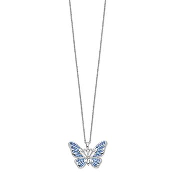 Sterling Silver Swarovski Crystal Never Give Up Butterfly18in Necklace