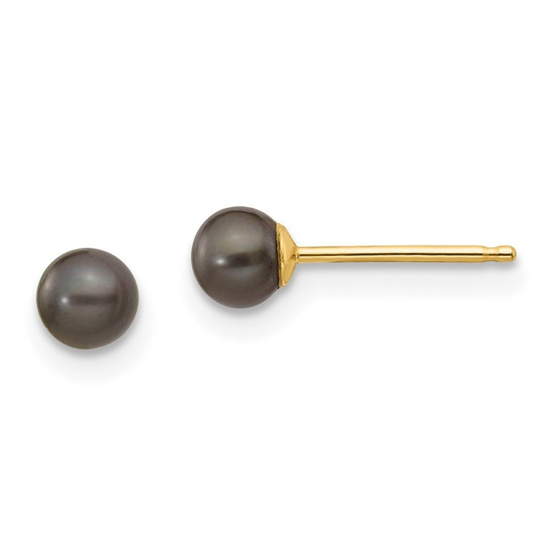 Quality Gold 14k 3-4mm Black Round Freshwater Cultured Pearl Stud Post Earrings