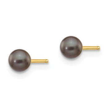 14k 3-4mm Black Round Freshwater Cultured Pearl Stud Post Earrings