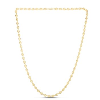 14K Gold Puffed Mariner Chain