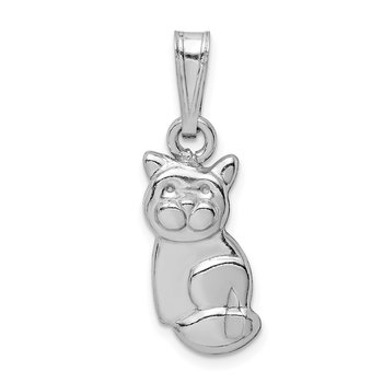 Sterling Silver Rhodium-plated Polished Cat Pendant