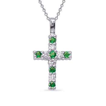 White Gold Emerald & Diamond Cross