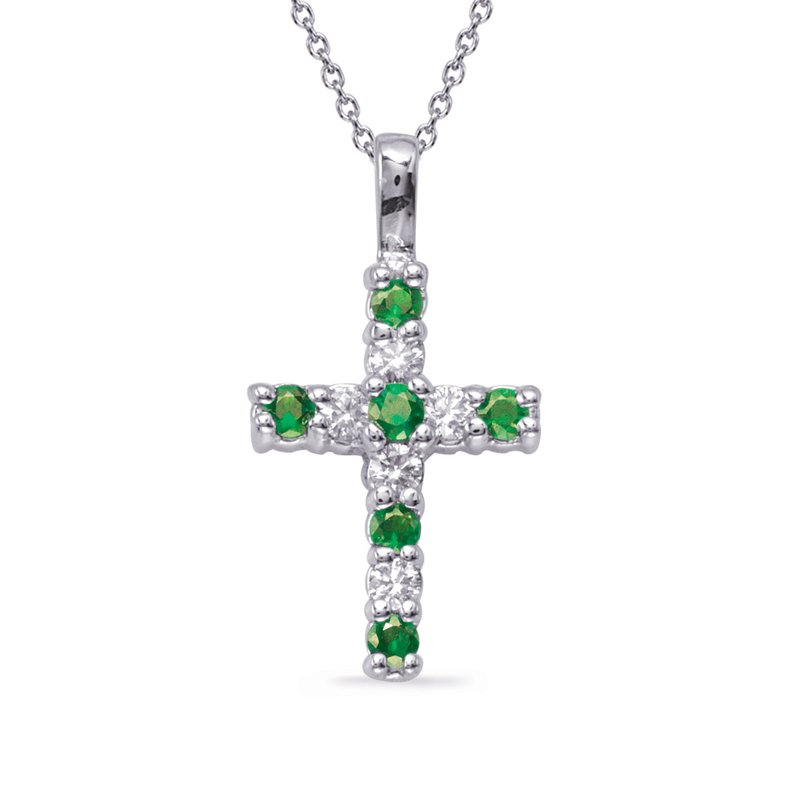 Briana White Gold Emerald & Diamond Cross