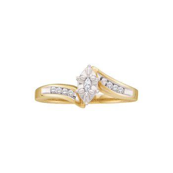 10kt Yellow Gold Womens Marquise Diamond Marquise Bridal Wedding Engagement Ring 1/6 Cttw