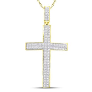 10kt Yellow Gold Mens Round Pave-set Diamond Cross Crucifix Charm Pendant 2-1/4 Cttw
