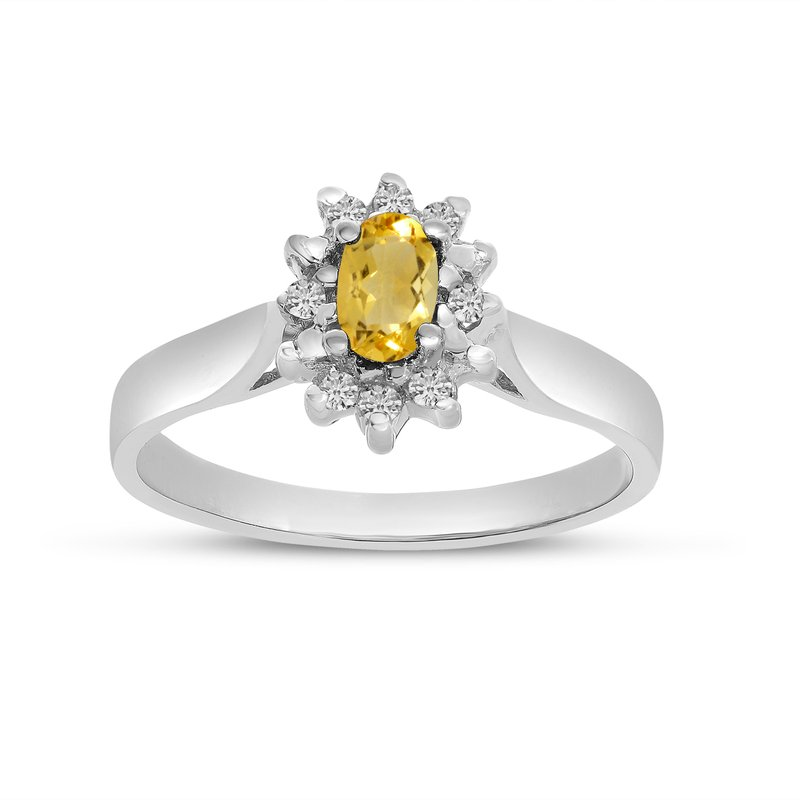 Color Merchants 14k White Gold Oval Citrine And Diamond Ring