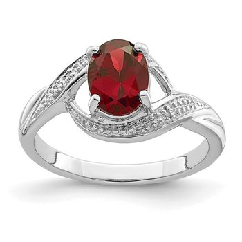 Sterling Silver Rhodium-plated Garnet & Diamond Ring